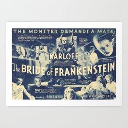 Bride of Frankenstein, vintage horror movie poster Art Print