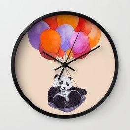 Panda flying with balloons Wall Clock