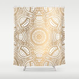 Gold Ethnic Pattern With Mandalas Shower Curtain