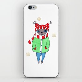 Cute Siamese Cat in Winter Scarf, Hat, Mittens, and Coat iPhone Skin