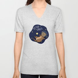 Otter Space Cute Outer Space Pun Unisex V-Neck