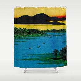 Hiroshige, Sunset Contemplative Landscape Shower Curtain
