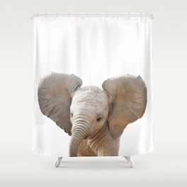 Baby Elephant, Baby Animals Art Prints by Synplus Shower Curtain