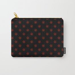 Scarlet Red on Black Snowflakes Carry-All Pouch