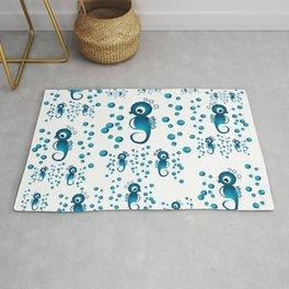 seahorses pattern in blue Rug