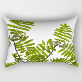 Green Rowan Leaves White Background #decor #society6 #buyart Rectangular Pillow