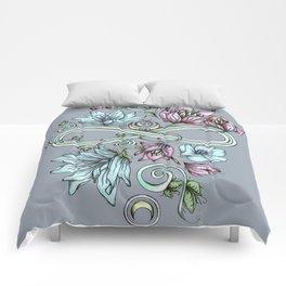 Infinity Floral Moon Garden in Gray Comforters