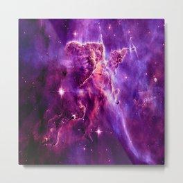 Mystic Mountain nebula. Purple Fuchsia Pink Metal Print