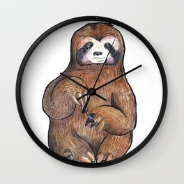 sloth painting nails Wall Clock