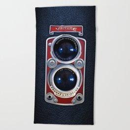 Red Retro Camera Beach Towel