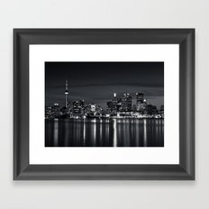 Toronto Skyline At Night From Polson St No 2 Black and White Version Framed Art Print