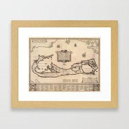 Vintage Map of Bermuda (1626) Framed Art Print