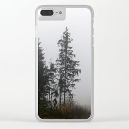 Silhouette autumn spruce Clear iPhone Case