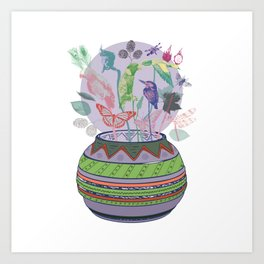 Vase with birds Art Print