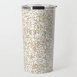 Tiny Spots - White and Khaki Brown Travel Mug