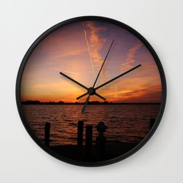 Sunset contrails Wall Clock