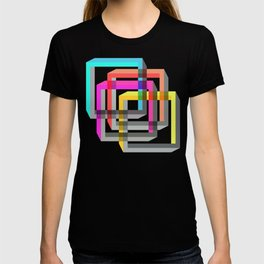 Colorful impossible 3D shapes overlapping. T-shirt
