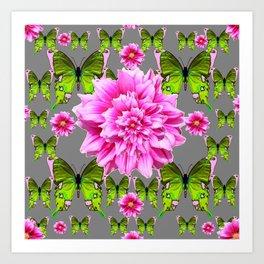 GREEN BUTTERFLIES & DOUBLE PINK FLOWERS ON GREY ART Art Print
