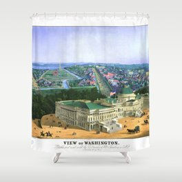 WASHINGTON city old map Father Day art print poster Shower Curtain