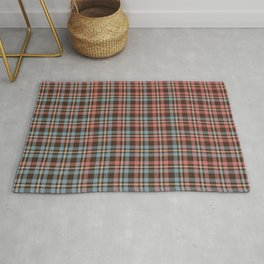 Tartan - Pink, Blue and Dust on a brown background Rug