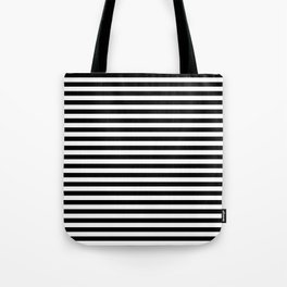 Midnight Black and White Horizontal Deck Chair Stripes Tote Bag