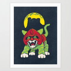 Battle Kitty's Mighty RAWR!  Art Print