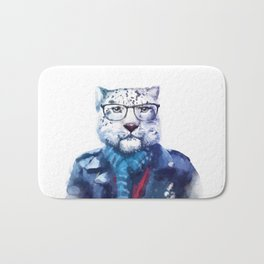 Watercolor Hipster Cat Bath Mat
