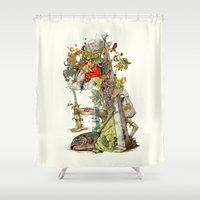 andreas preis Shower Curtains featuring compositions Naturally by Maethawee Chiraphong