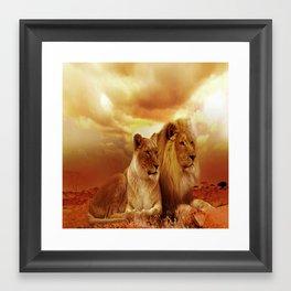 Lion Couple Sunset Fantasy Framed Art Print