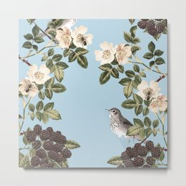Birds and the Bees Blue Metal Print
