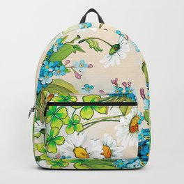 Adorable white sunflower texture Backpack