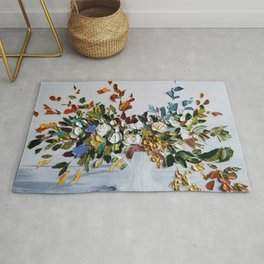 Autumn Flowers and Leaves Bouquet Rug
