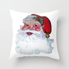 Vintage Santa Claus Jolly Face and Rosy Cheeks Throw Pillow