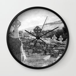 Halloween Graveyard | Horror | Black and White Cemetery | Gothic Graves | Wall Clock