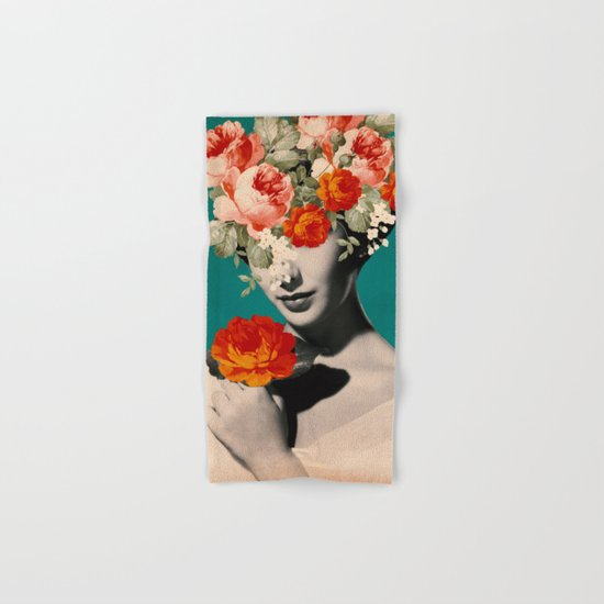 WOMAN WITH FLOWERS Hand & Bath Towel
