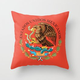 Mexican seal on Adobe red Throw Pillow