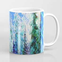 Western  Blue Modern Art Mountain Blue Winter Trees  Art Coffee Mug