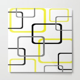 Geometric Rounded Rectangles Collage Yellow Metal Print