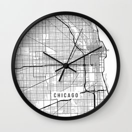 Chicago Map, USA - Black and White Wall Clock