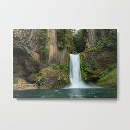 Photos USA Toketee Falls Oregon Crag Nature Waterfalls Moss Rock Cliff Metal Print