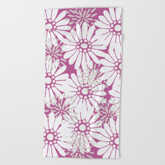 Summer Flowers Purple Beach Towel