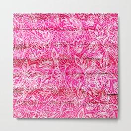 Girly hand drawn floral paisley neon pink wood Metal Print