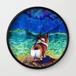 Corgi - sea admirer Wall Clock