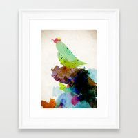 contemporary Framed Art Prints featuring Bird standing on a tree by contemporary