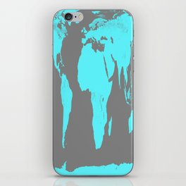 World Map Gray & Turquoise iPhone Skin