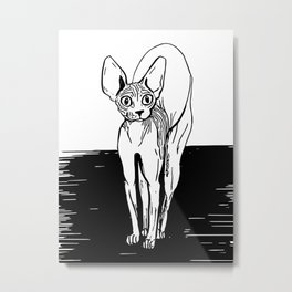 Black and White Sphynx Cat Line Drawing - Sphynx Lovers Gift - Naked Cat - Wrinkly Kitty Metal Print