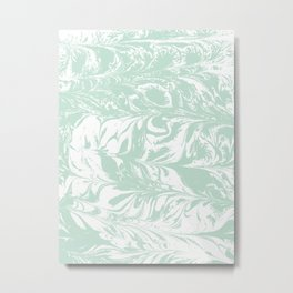 Marble mint 4 Suminagashi watercolor pattern art pisces water wave ocean minimal design Metal Print