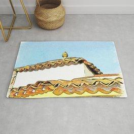 Roof with ceramic pine cone Rug