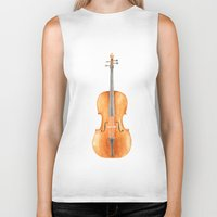 cello Biker Tanks featuring Cello - Watercolors by Florent Bodart / Speakerine