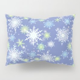 white , delicate snowflakes on a light blue background. Pillow Sham